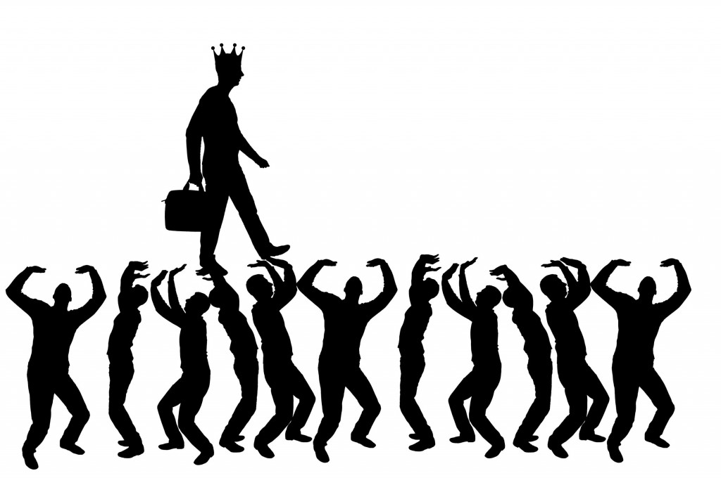 Silhouette vector of a walking selfish and narcissistic man with a crown on his head on the hands of the crowd