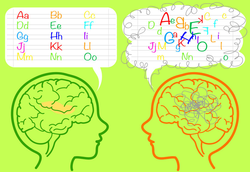 The brain of a dyslexic boy is confused about letters.